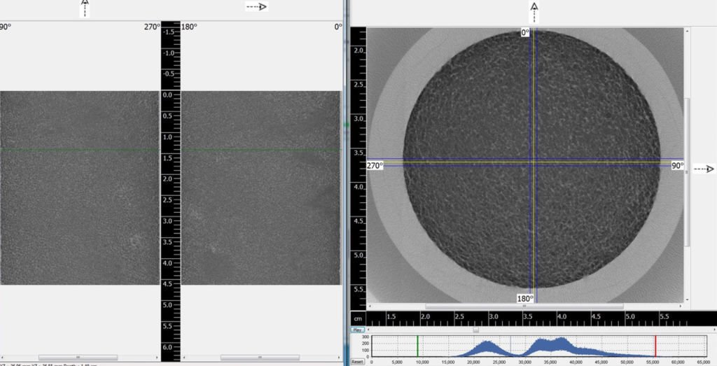 37 micron resolution slice through an oolite plug sample.