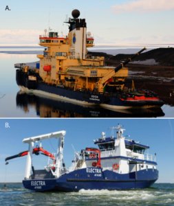 Figure 2. A. Swedish icebreaker I/B Oden on the Greenland coast (Photo by Martin Jakobsson, SU). B. SU's new Baltic Sea research vessel R/V Electra (Photo by Östersjöncentrum, SU).